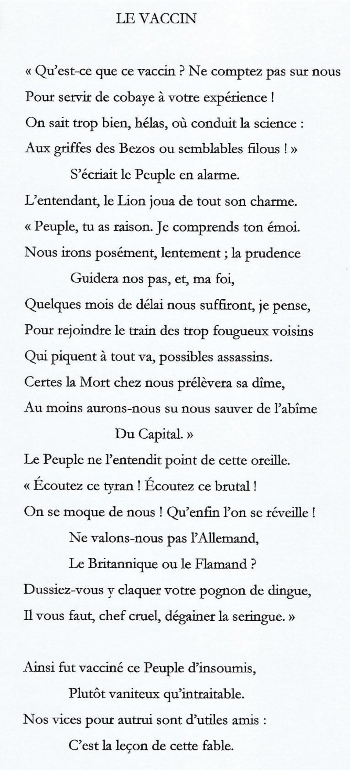 poème de Jean-Louis Bailly sur le vaccin à la manière de La Fontaine