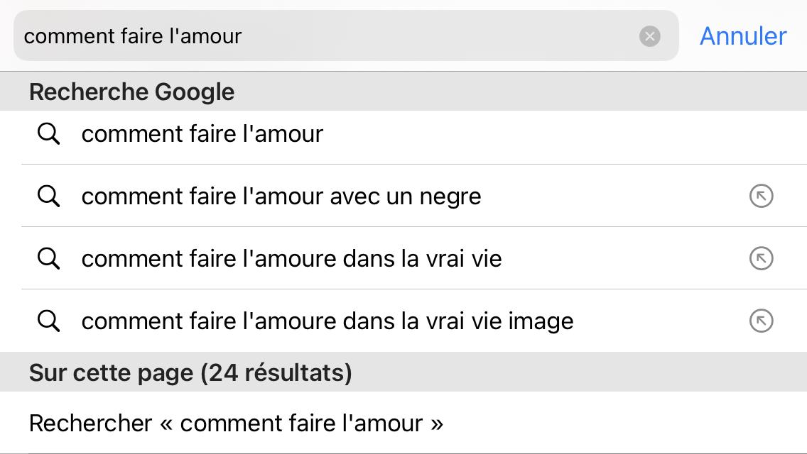 réponses à la requête Google