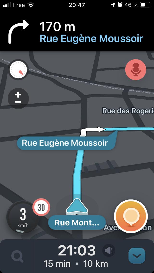 carte Waze montrant 10km